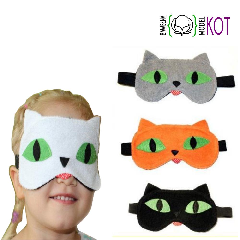 kot opaska na oczy dziecka bwełniana